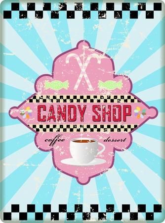 worn sign: muestra retra tienda de dulces, desgastado y degradado