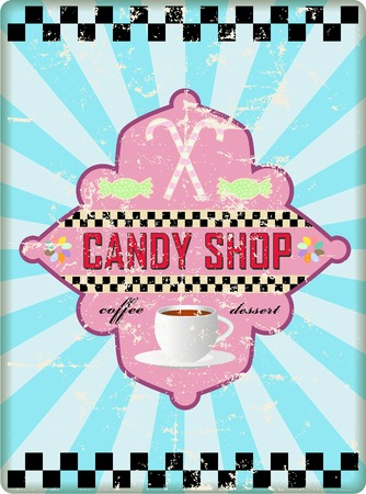 worn sign: retro candy shop sign, worn and weathered