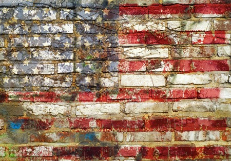 brick sign: grungy american flag on weathered brick wall, fictional design