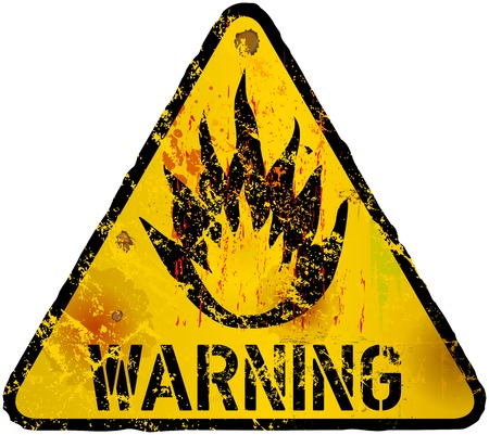 flammable warning: wildfire warning, flammable sign, fictional artwork. grunge style vector illustration Illustration