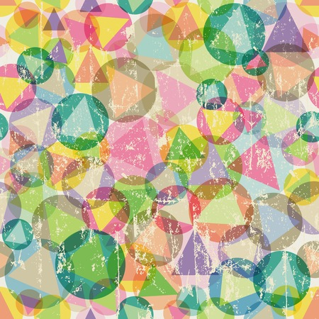 circle abstract: seamless pattern with triangles and circles, fictional artwork, grunge vector