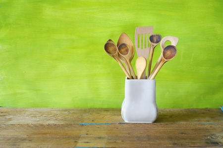 kitchen utensils, wooden spoons, free copy space Stock Photo