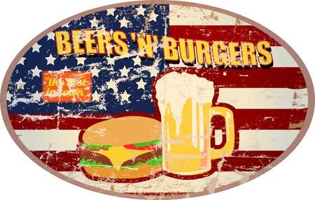 fictional: Fictional retro diner sign, Beer and hamburger, vector Illustration