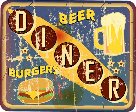 big break: retro and grungy american diner sign, vector illustration Illustration