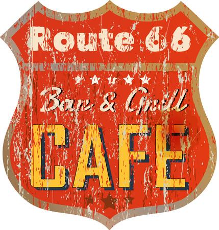 Vintage route 66 cafe sign, vector illustration, fictional artwork Illustration