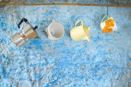 vintage kitchen: vintage kitchen utensils for coffee brewing, free copy space Stock Photo