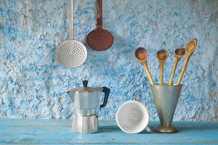 skimmer: Vintage kitchen utensils; spatulas; espresso maker; skimmer; coffee filter; beaker