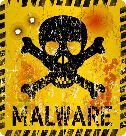 virus informatico: virus inform�tico se�al de advertencia de la infecci�n, el estilo grunge, ilustraci�n vectorial