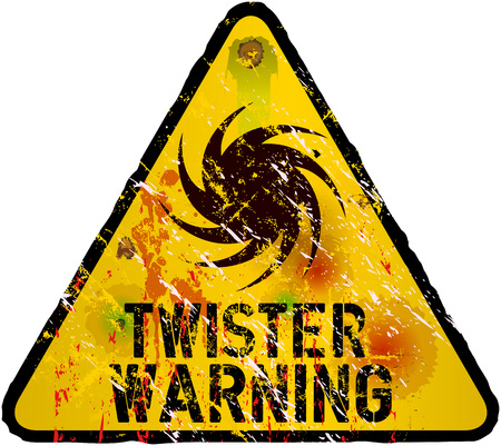 hazard damage: storm warning sign, heavy weathered, vector eps 10