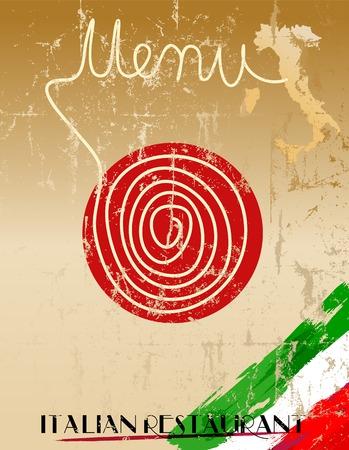 facture restaurant: Menu for Italian restaurant, fictional artwork, free copy space Illustration