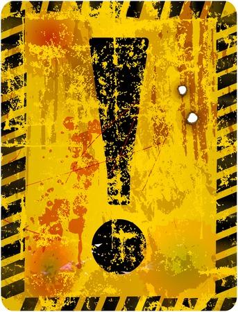 hazardous imperil: Danger warning sign w. exclamation mark, vector illustration