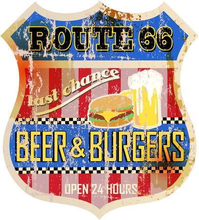 66: retro route 66 diner sign,vector eps 10