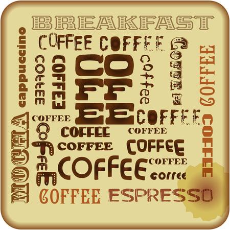 fictional: retro coffee sign, tag cloud,vector format,fictional artwork