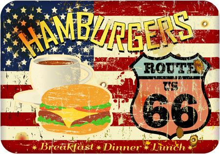 grungy, nostalgic Route 66 or hamburger diner sign, fictional artwork, vector format Illustration