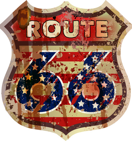 rusty: Route 66 road sign, fictional design retro style, vector