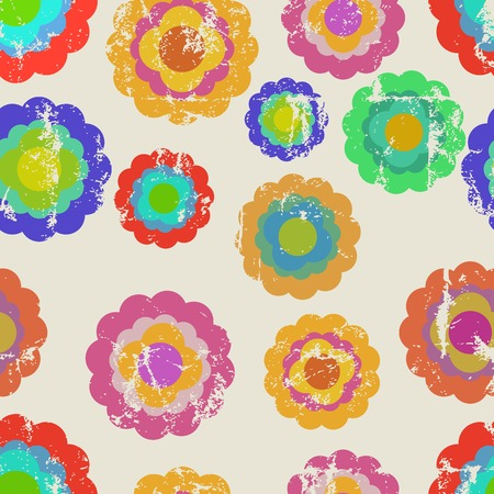 nostalgic: seamless retro flower pattern, vector illustration, fictional artwork