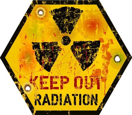 hazardous metals: Radiation warning, grungy vector illustration, fictional artwork