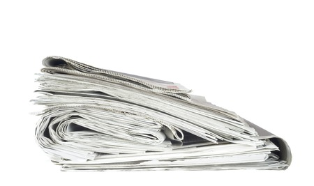 newspaper stack: newspaper stack, isolated on white background, free copy space