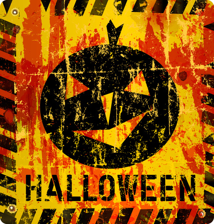 fictional: grungy halloween sign, vector illustration, fictional artwork