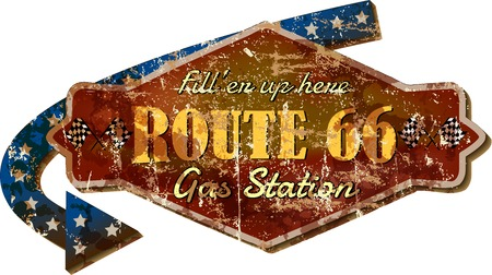 routes: grungy retro route sixty six gas station sign, vector illustration, fictional artwork