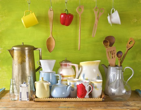 vintages: collection of vintages dishes and kitchen utensils