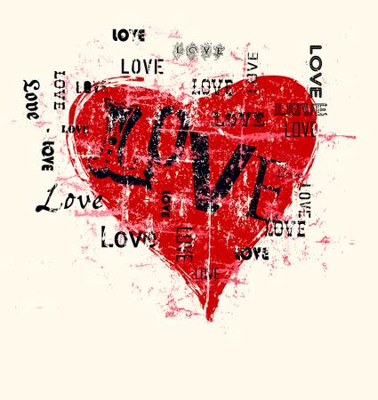 coeur et l'amour illustration, style grunge, copie espace libre, ?uvre de fiction