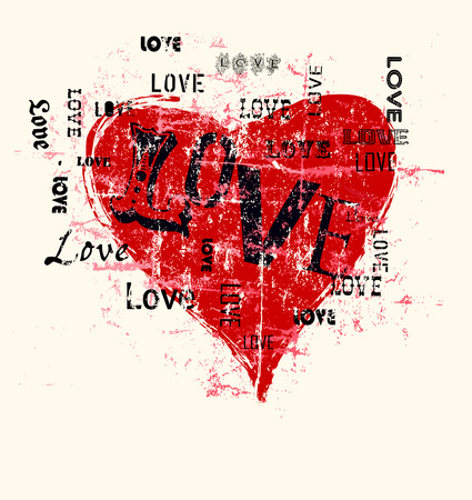 heart and love illustration, grunge style,free copy space, fictional artwork