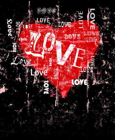 couples in love: heart and love illustration, free copy space, grunge style, vector