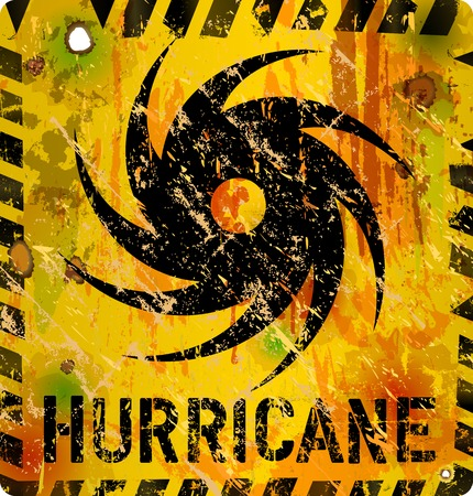 hurricane disaster: hurricane warning sign, heavy weathered, vector eps 10
