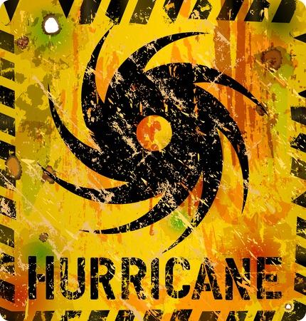 doom: hurricane warning sign, heavy weathered, vector eps 10