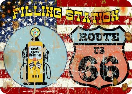 nostalgia: retro American Gas Station Route 66 sign, super grungs vector, fictional artwork