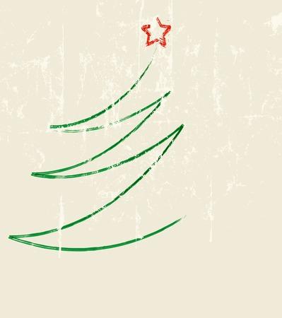 Abstracto árbol de Navidad, vector, estilo grunge, espacio de libre copia, obra de ficción Foto de archivo - 47552043