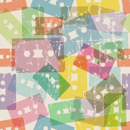analogous: analog audio cassette tape, seamless background pattern, grunge vector, fictional artwork
