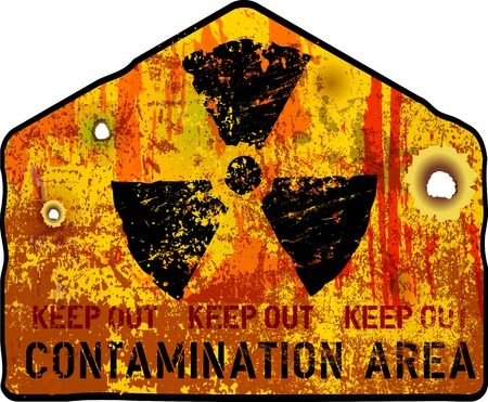 caution chemistry: Radiation warning grunge, vector illustration, fictional artwork Illustration