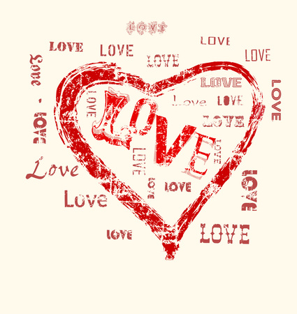 distressed: heart and love illustration, grunge style, vector Illustration
