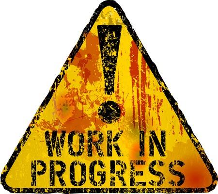 guardar silencio: el trabajo en se�al de progreso, el estilo grunge, obra de ficci�n, vector
