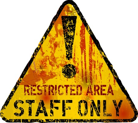 urbane: staff only sign w. bullet holes, vector