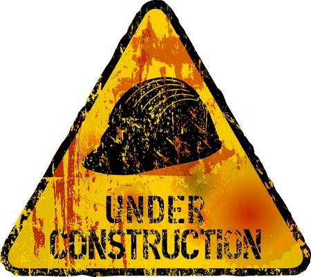 Website under construction sign grungy, style, vector, fictional artwork Illustration