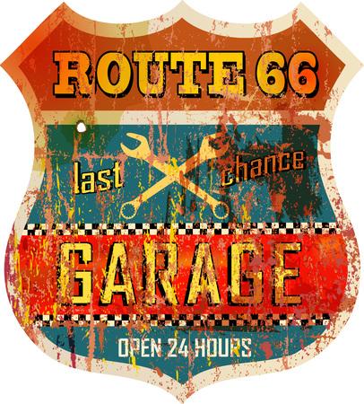rétro route 66 garage signe de l'atelier, vecteur