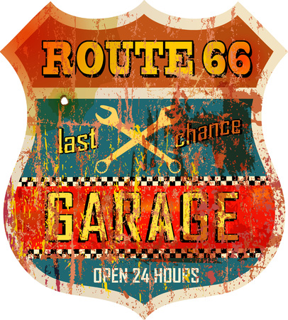 retro route 66 garage workshop sign, vector