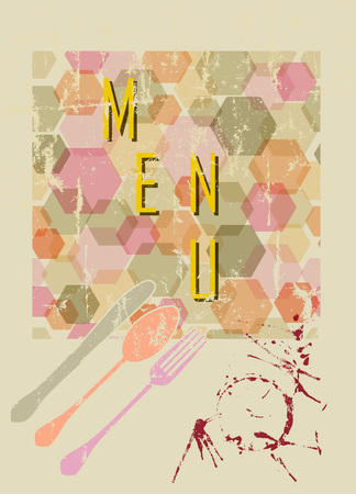 fictional: retro abstract menu template,free copy space, vector, fictional artwork