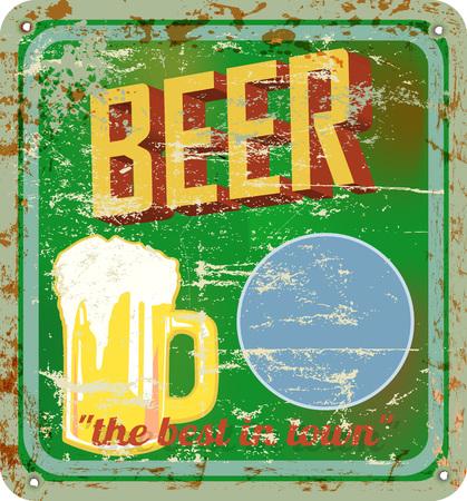 fictional: retro beer sign, vector illustration,fictional artwork