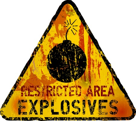 hazardous: explosives warning sign,vector, fictional artwork