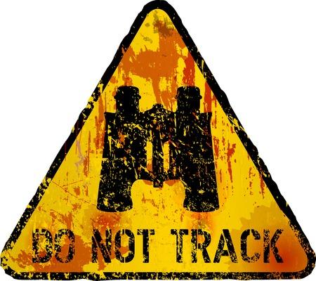 laboratory label: internet security, do not track sign, vector grunge style, fictional artwork Illustration