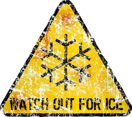 fictional: ice warning sign, vector illustration, fictional artwork
