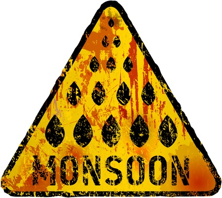 rains: Monsoon warning sign vector grunge style, fictional artwork