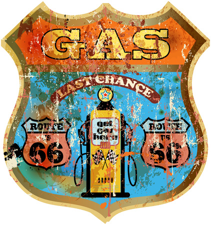 routes: retro route 66 gas station sign, grungy style, vector illustration Illustration