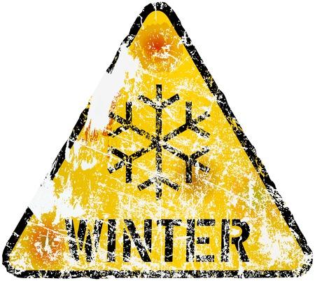 fictional: winter warning sign, vector illustration, fictional artwork