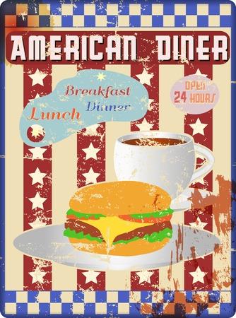 레트로 아메리칸 식당 기호, 착용 및 풍 화 스톡 콘텐츠 - 48484901