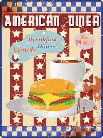 retro american diner teken, versleten en verweerde